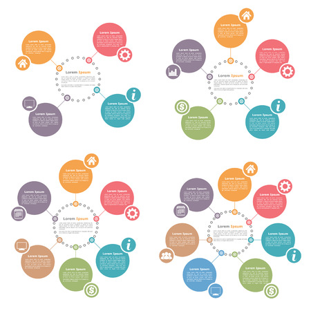 Illustration for Circle infographics design templates set, four, five, six and seven steps or options - Royalty Free Image