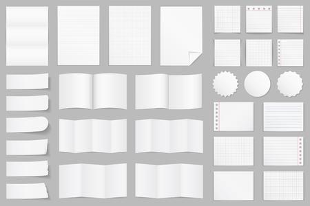 Illustration pour Collection of different paper - A4 paper, folded paper, brochure templates, stickers, notes - image libre de droit