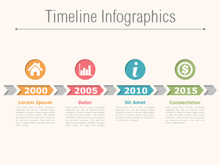 Illustration pour Timeline infographics design with arrows, process diagram - image libre de droit