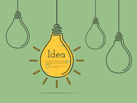 Ilustración de Idea concept with light bulbs, minimal flat design - Imagen libre de derechos