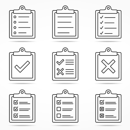 Illustration pour Clipboard icons with check and cross symbols, minimal line style - image libre de droit