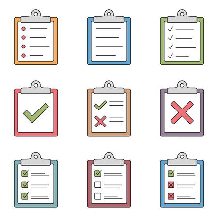 Illustration pour Colored check list icons - image libre de droit