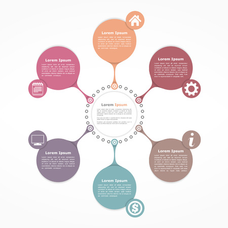 Illustration for Circle flow diagram template with six elements - Royalty Free Image
