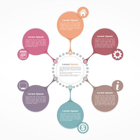Ilustración de Circle flow diagram template with six elements - Imagen libre de derechos