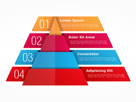 Illustration pour Infographics template with pyramid with four elements with numbers and text - image libre de droit
