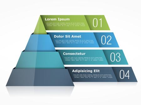 Illustration pour Pyramid chart with four elements - image libre de droit
