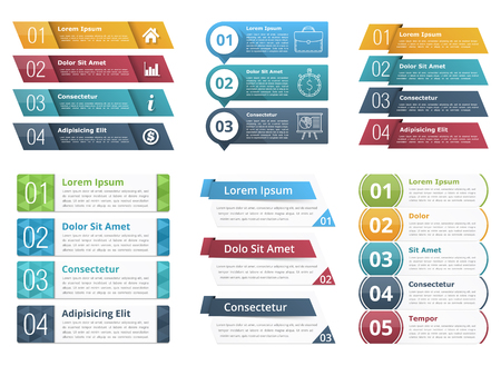 Illustration pour Infographic templates with numbers and text, business infographics elements set - image libre de droit