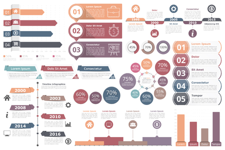 Ilustración de Infographic elements - bar graphs, timelines, circle diagram, flowchart, objects with percents, numbers, text and icons, business infographics - Imagen libre de derechos