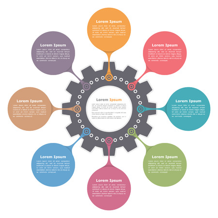 Ilustración de Circle infographics with gear, round diagram template - Imagen libre de derechos
