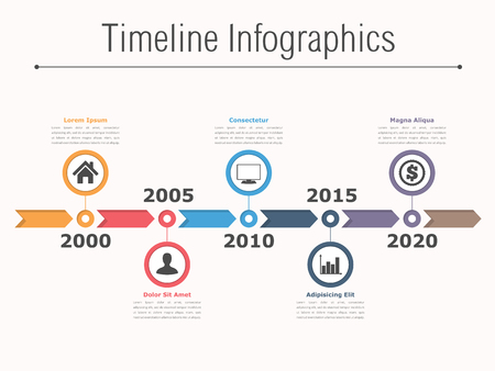 Illustration pour Timeline infographics design with arrows, workflow or process diagram, flowchart - image libre de droit