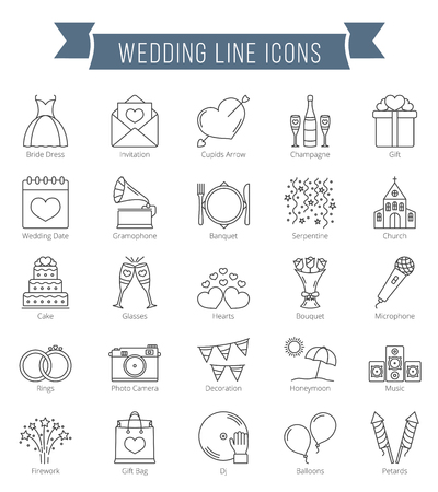 Illustration pour 25 Wedding line icons, can be used for Valentine's day - image libre de droit