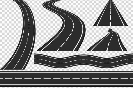 Illustration pour Set of new asphalt roads, vertical and horizontal roads, highway - image libre de droit