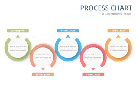 Illustration pour Process diagram template with circles, flowchart or workflow with five elements, steps or options, business infographics - image libre de droit