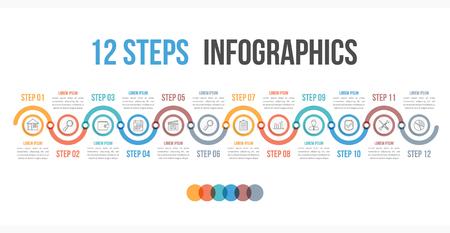 Ilustración de Infographic template with 12 steps or options, workflow, process diagram, vector eps10 illustration - Imagen libre de derechos