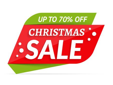 Illustration pour Christmas Sale banner, 70% off vector illustration. - image libre de droit