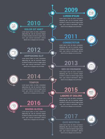 Ilustración de Vertical timeline infographics template, workflow or process diagram - Imagen libre de derechos
