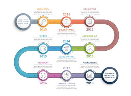 Ilustración de Colorful timeline infographics template with 9 steps, workflow, process, history diagram - Imagen libre de derechos