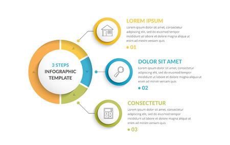 Ilustración de Infographic template with three steps or options, workflow or process diagram - Imagen libre de derechos