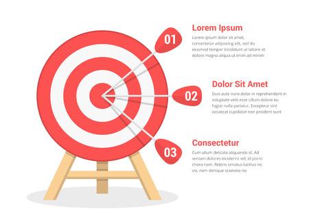 Ilustración de Target with three arrows, three steps to your goal, vector eps10 illustration - Imagen libre de derechos
