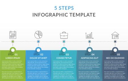 Ilustración de Infographic template with 5 steps, workflow, process chart - Imagen libre de derechos