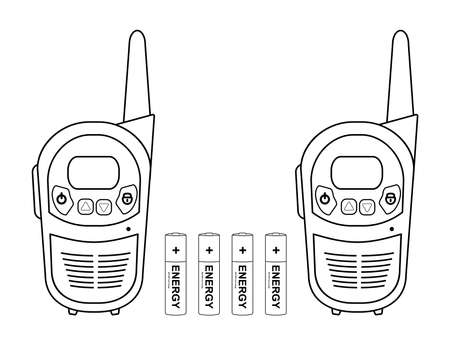 Two travel black portable mobile vector radio set devices wit 4 accumulator batteries. Contour lines illustration isolated on white