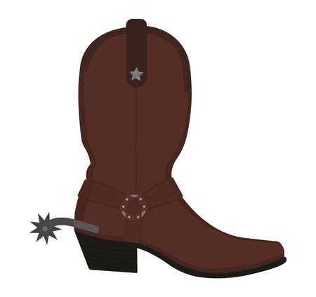 Ilustración de Wild west leather cowboy boot with spur and star. Color vector clip art illustration isolated on white - Imagen libre de derechos