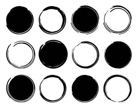 Illustration pour Black ink round frames. Vector clip art illustrations isolated on white - image libre de droit
