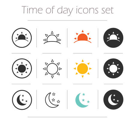 Illustration pour Time of the day simple icons set. Sunrise, sun, sunshine, moon and stars linear, color and silhouette vector symbols isolated on white - image libre de droit