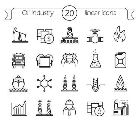 Illustration pour Oil industry linear icons set. Gas production, transportation, storage vector line art - image libre de droit