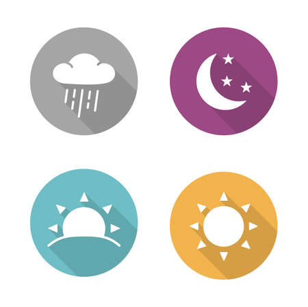 Illustration pour Times of day flat design icons set. Sunrise and sunshine long shadow white silhouettes illustrations. Sunny and rainy day round infographics elements with raining cloud and sun. Vector symbols - image libre de droit