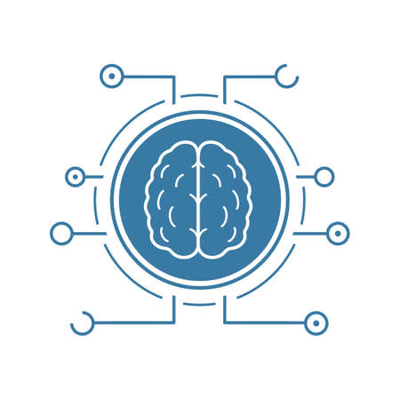 Illustration pour Neural networks icon. Blue silhouette symbol. Human brain in microchip pathways. Artificial intelligence. Negative space. Vector isolated illustration - image libre de droit