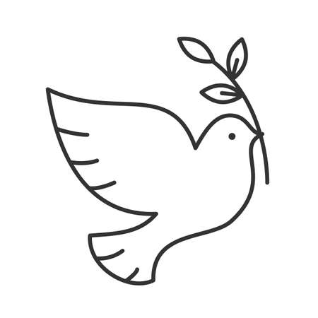 Illustration pour Dove with olive brunch linear icon. Thin line illustration. Peace Day contour symbol. Vector isolated outline drawing - image libre de droit