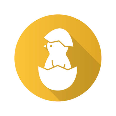 Illustration pour Newborn chicken flat design long shadow icon. Nestling in egg shell. Vector silhouette symbol - image libre de droit