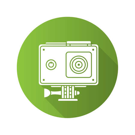 Action camera in protection case. Flat design long shadow icon. Vector silhouette symbol