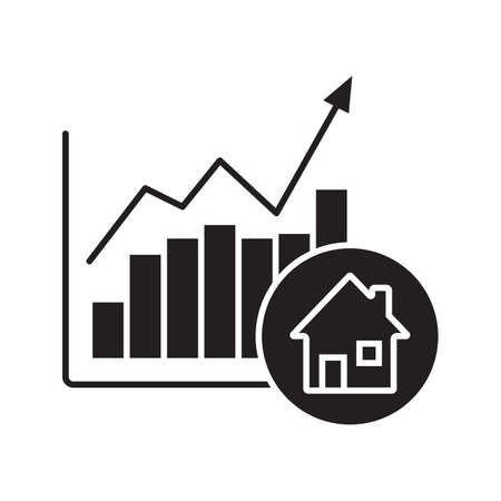 Illustration pour Real estate market growth chart glyph icon. Silhouette symbol. Houses price rise. Negative space. Vector isolated illustration - image libre de droit