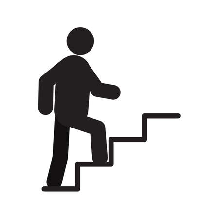 Ilustración de Man walking up stairs silhouette icon. Career growth. Isolated vector illustration. Climbing up stairs - Imagen libre de derechos