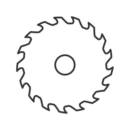Illustration pour Circular saw blade linear icon. Thin line illustration. Wheel blade. Contour symbol. Vector isolated outline drawing - image libre de droit