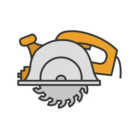 Illustration pour Circular saw color icon. Disc saw. Isolated vector illustration - image libre de droit