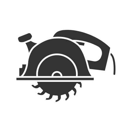 Illustration pour Circular saw glyph icon silhouette symbol. Disc saw negative space vector isolated illustration. - image libre de droit