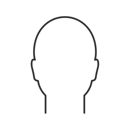 Illustration pour Human head linear icon. Man's face frontal view. Thin line illustration. Profile. Contour symbol. Vector isolated outline drawing - image libre de droit