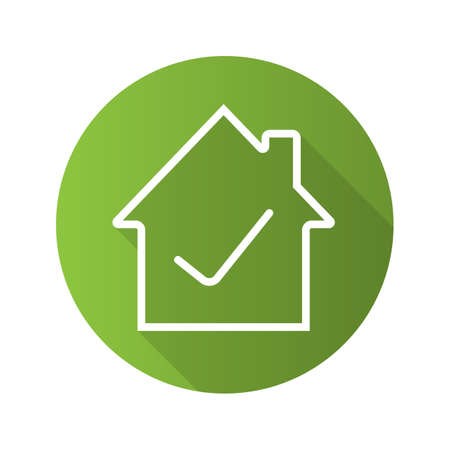 Illustration pour Approved house flat linear long shadow icon. Home building with check mark inside. Vector outline symbol - image libre de droit