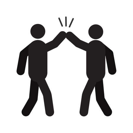 Illustration pour High five hand gesture silhouette icon - image libre de droit