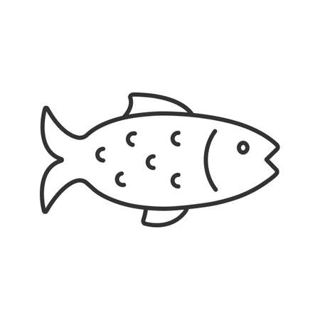 Illustration for Fish linear icon. Thin line illustration. Angling. Contour symbol. Vector isolated outline drawing - Royalty Free Image
