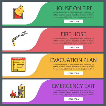 Illustration for Firefighting web banner templates set. House on fire, evacuation plan, hose, emergency exit. Website color menu items vector headers design concepts. - Royalty Free Image