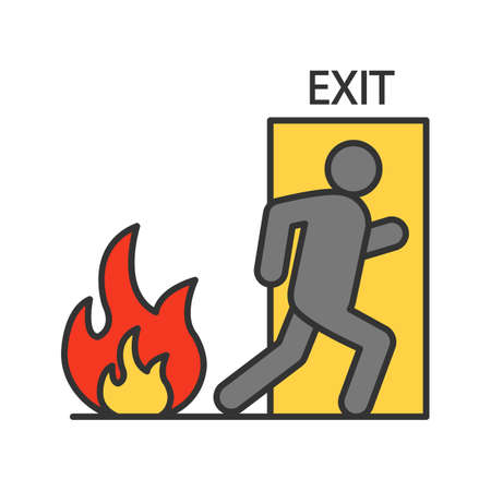 Illustration pour Fire emergency exit door with human color icon. Evacuation plan. Isolated vector illustration - image libre de droit