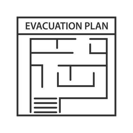 Ilustración de Evacuation plan linear icon. Thin line illustration. Fire escape plan. Contour symbol. Vector isolated outline drawing - Imagen libre de derechos