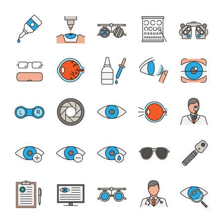 Illustration pour Ophtalmology color icons set. Optometry. Vision examination and treatment equipment. Isolated vector illustrations - image libre de droit