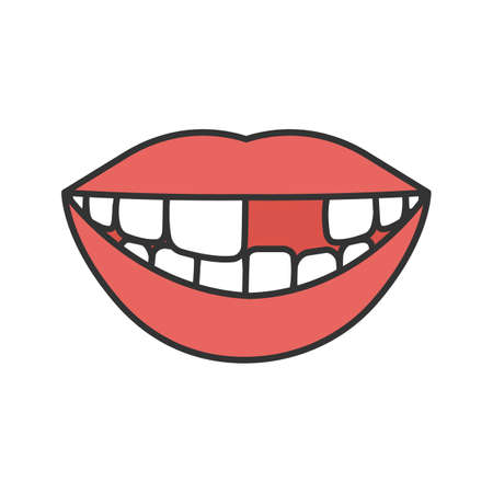 Illustrazione per Smile with missing tooth color icon. Isolated vector illustration - Immagini Royalty Free
