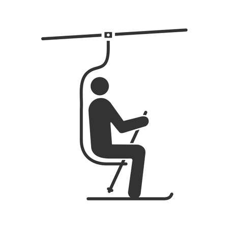 Ilustración de Ski chairlift with skier glyph icon. Funicular. Ski elevator. Silhouette symbol. Negative space. Vector isolated illustration - Imagen libre de derechos