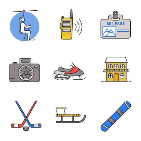 Ilustración de Winter activities color icons set. Chairlift, walkie talkie, ski pass, photo camera, snowmobile, cottage, ice hockey gear, sled, snowboard. Isolated vector illustrations - Imagen libre de derechos